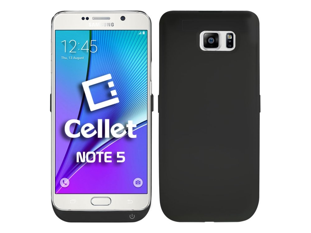 Cellet 5200mAh External Battery Charger Case with Kickstand for Samsung Galaxy Note 5 Provides Protection - Retail Packaging - Black