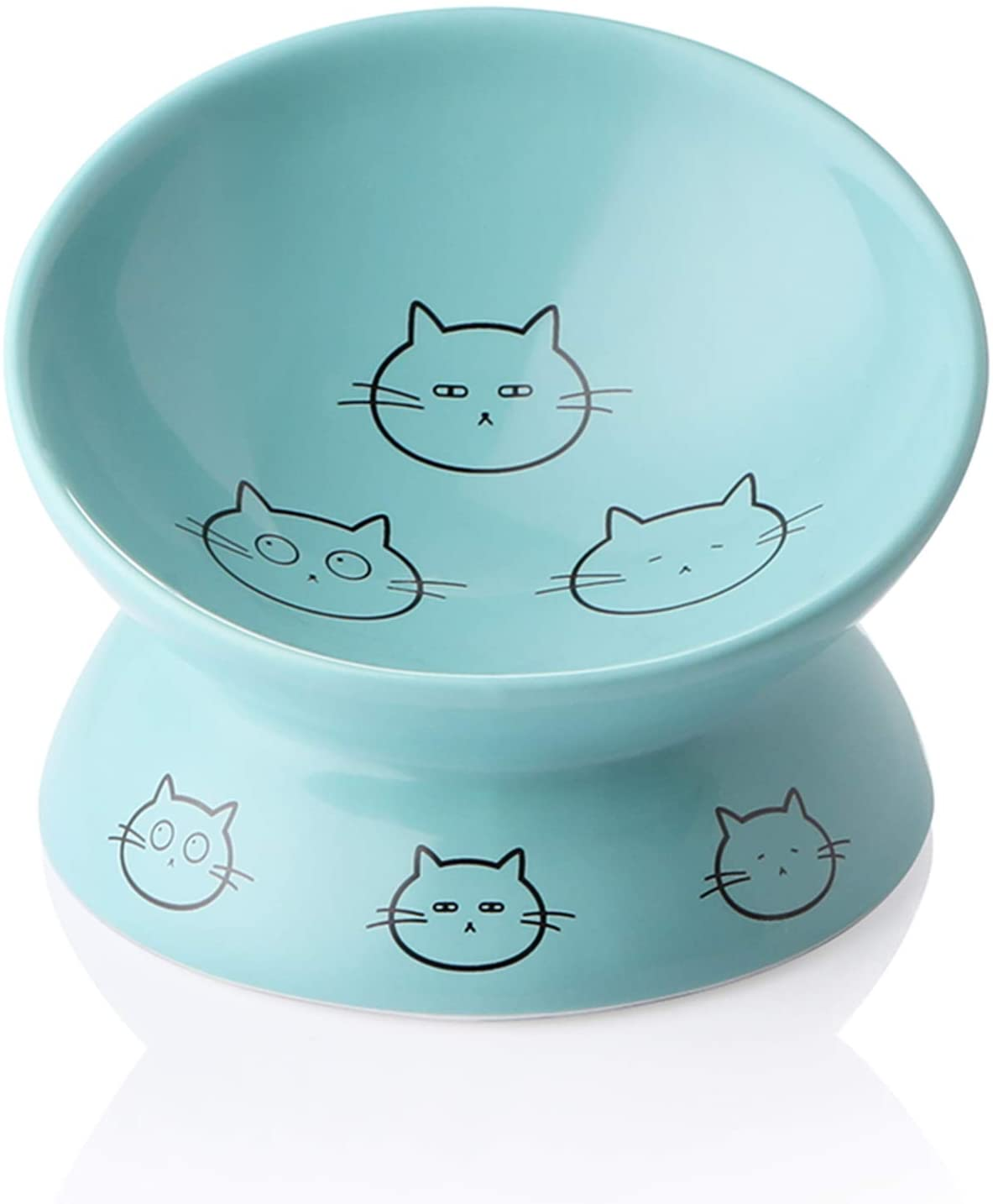 SWEEJAR Ceramic Raised Cat Bowls, Slanted Cat Dish Food or Water Bowls, Elevated Porcelain Pet Feeder Bowl Protect Cat's Spine, Stress Free, Backflow Prevention (Turquoise)