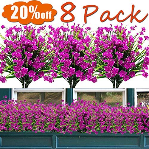 8PCS Artificial Flowers Outdoor UV Resistant Plants,July Now Deals 8 Branches Faux Plastic Corn-flower Greenery Shrubs Plants Indoor Outside Hanging Planter Kitchen Home Wedding Office Garden Decor