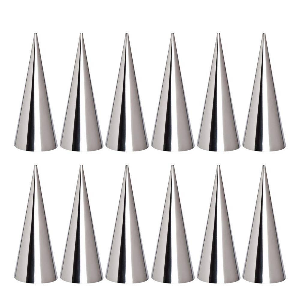 Kslong 12pcs Large Size Stainless Steel Pastry Cream Horn Moulds Conical Tube Cone Pastry Roll Horn Mould Baking Denmark Large Coil Mold Tool