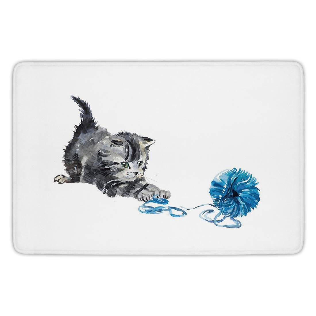 Bathroom Bath Rug Kitchen Floor Mat Carpet,Cat,Playful Baby Kitten with Ball of Yarn Furry Animal Domestic Feline Kids Pets Artwork,Grey Blue,Flannel Microfiber Non-slip Soft Absorbent