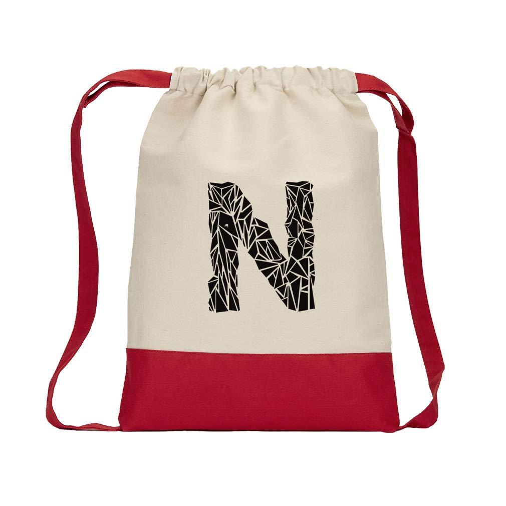 ''N'' Crystal Glass Monogram Letter N Cotton Canvas Color Drawstring Bag Backpack - Red