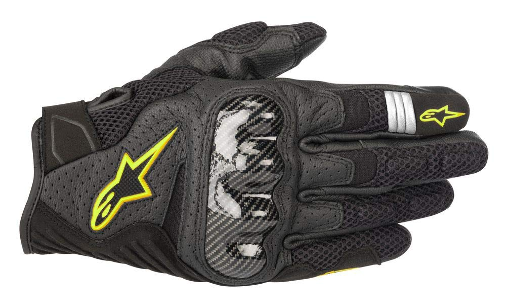 Alpinestars SMX-1 Air V2 Motorcycle Riding/Racing Glove (Small, Black/Fluorecent Yellow)