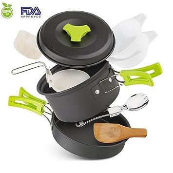 ToWinle Envío Rei chste Camping Cocina Juego de Camping Accesorios Portátil Camping - Olla con Tapa Antiadherente Cookware Kit para Exterior Viaje Camping 1 ...