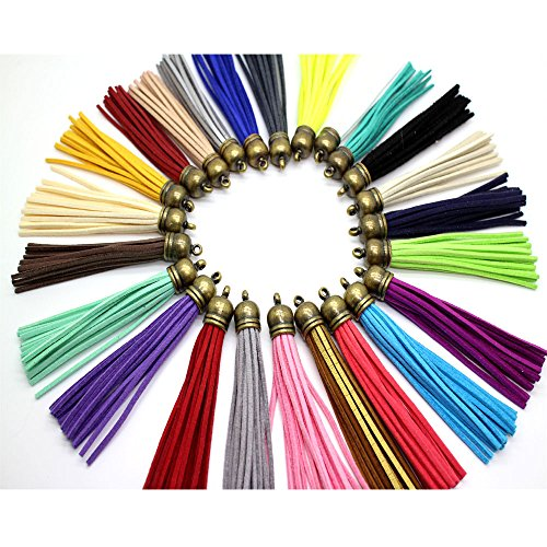 Pamir Tong 30pcs/lot of Multi-colors Leather Tassel with Bronze Caps Cell Phone Straps DIY Earring/ Necklace Charms GD30ST06