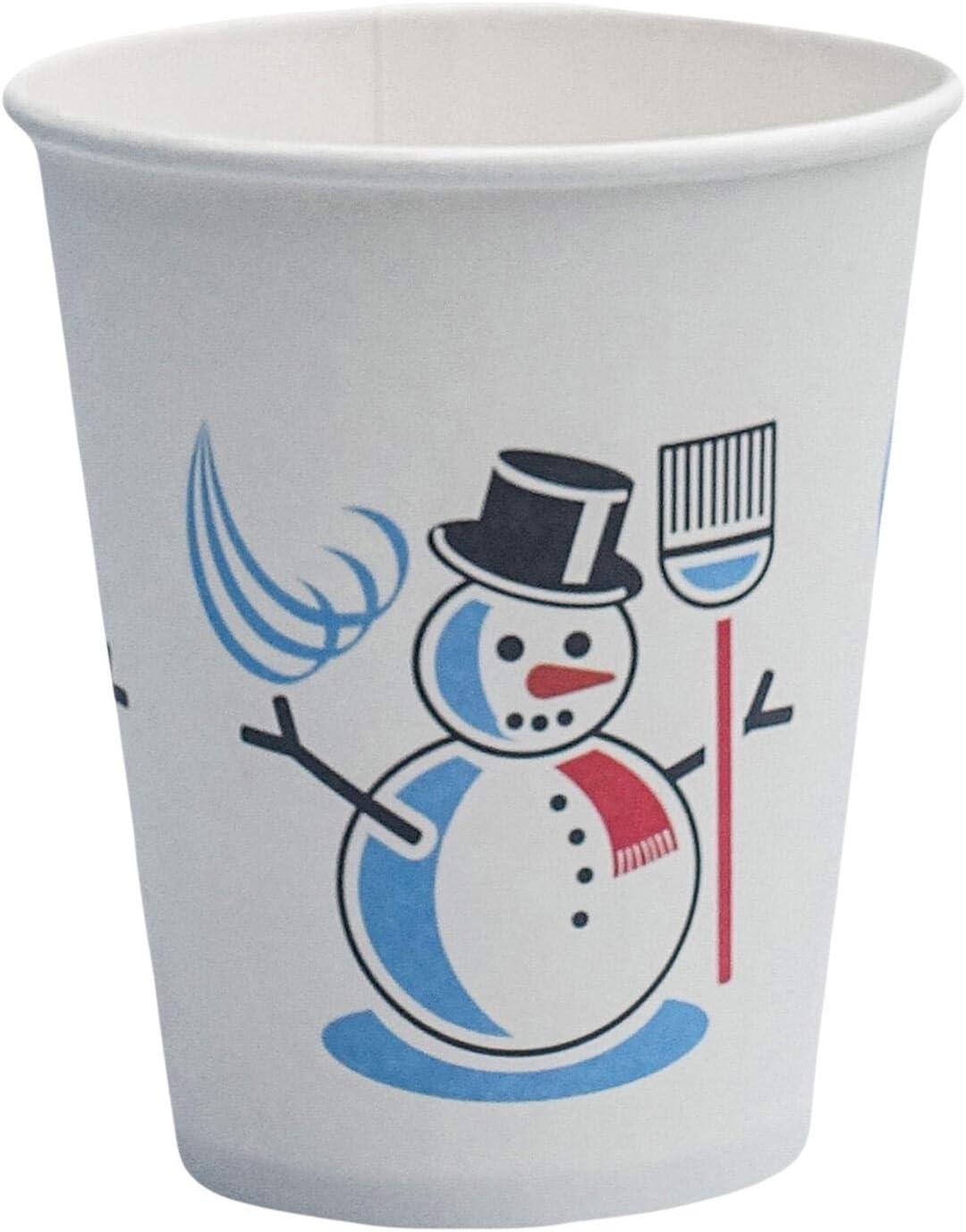250 ml Lot de 100 gobelets jetables en carton Motif bonhomme de neige dhiver