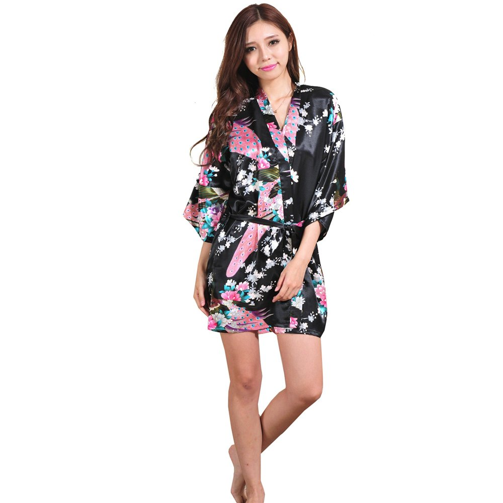 Black XXHDYR Swimwear Women's Summer Pajamas Simulation Silk Dress Kimono Loose Swimsuit Cardigan Robes Peacock Short Bathrobe (color   Red, Size   M)