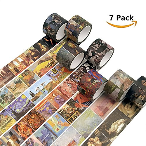 7 ROLLS World Famous Painting Design Washi Tape Set - Oil Painting Canvases Patterns Masking Tape for Art Crafty Decorative, DIY Crafts,Gift - Oil Pattern
