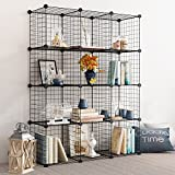 Tespo Wire Storage Cubes Modular Shelving Unit DIY Metal Grid Closet Organizer System, Bookcase, Cabinet (12 Cubes)