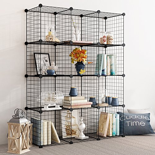 Tespo Wire Storage Cubes Modular Shelving Unit DIY Metal Grid Closet Organizer System, Bookcase, Cabinet (12 Cubes) by Tespo