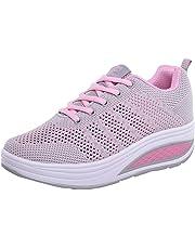 LHWY Zapatillas Mocasines de Deportes Moda Mujer Malla Zapatos de Aumento de Fondo Suave Zapatos de