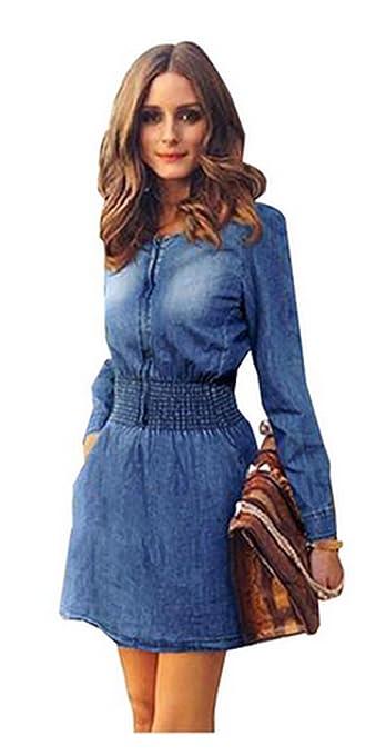 Womens Plus Size Women Dress Jeans Denim Dresses Waist Slim Vestidos Casual ...