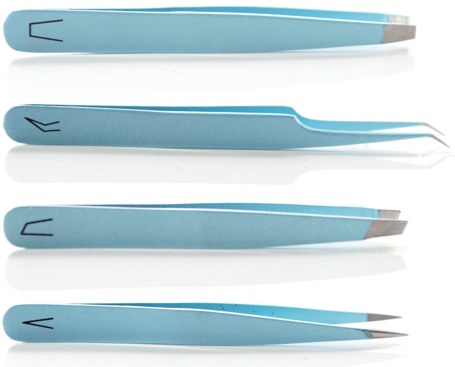 Professional Tweezer Pack- 4 Tweezers Set- Ingrown Hair Remover Treatment. Premium Eyebrow Shaper. Tweezers With Case.