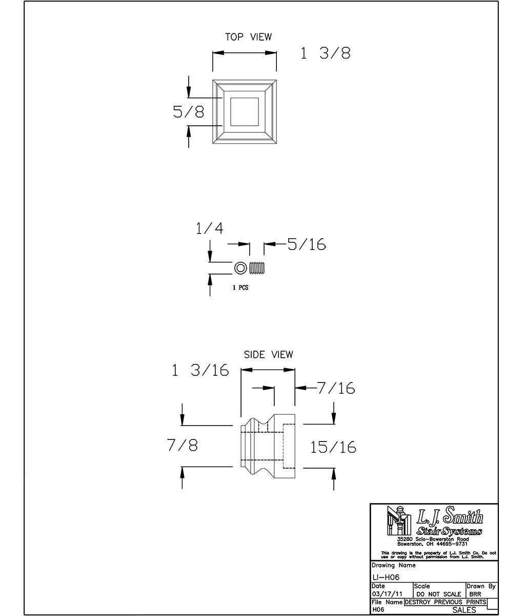 LI-H06-ABZ: Iron Level Shoe for 9/16'' Solid Square Iron Balusters (Antique Bronze)