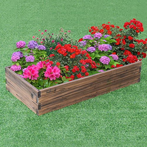 Wooden Raised Garden Bed Kit - Elevated Planter Box for Growing Herbs, Vegetable