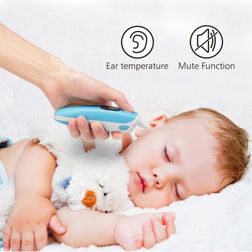 Ear and Forehead Thermometer Medical Baby Thermometer, Professional Precision Infrared Digital Thermometer, 1 Second Measurement Time Memory Recall and Fever Warning,Blue Gloridea by Gloridea (Image #5)