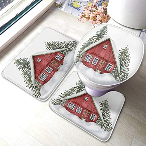 EKOBLA 3 Piece Bath Rug Set Watercolor Red House Winter Forest Hand Painted Fir Trees Snow Holiday Nature Soft Touch Anti-Slip 3 Pcs Mats Set U-Shaped Toilet Mat Lid Cover Absorbent Bath Rug