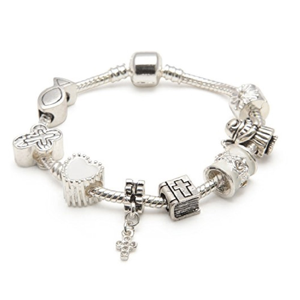 Liberty Charms Girls First Holy Communion//Confirmation Silver Plated Charm Bracelet With Gift Box /& Velvet Pouch 18