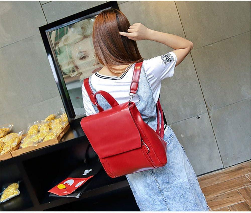 Zaini Moda Donna PU Leather Retro Zaino Messenger Bag Ladies Borsa per Le Donne Tasche Multiple di Grandi Dimensioni Retro Zaino Borse Tracolla a Tracolla Lunga per Le Donne Shopping Travel Travel Wine Red
