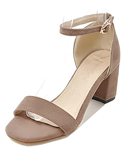 aa9af52dd279 Aisun Women s Simple Comfort Buckled Dressy Block Mid Heel Open Toe Sandals  Shoes with Ankle Strap