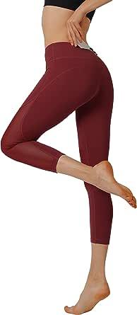 HonourSport Women Yoga Pants Soft Mesh High Waisted Running Leggings with Pocket