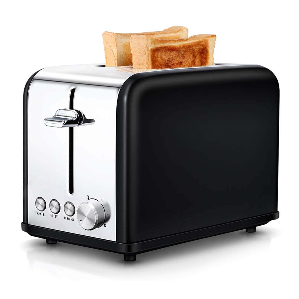 AIVANE Toaster, Toaster 2 Slice with Extra-Wide Slot, Stainless Steel Toaster with 6 Toasting Settings for Fast and Even Toasting, Removable Crumb Tray, 815W, Black