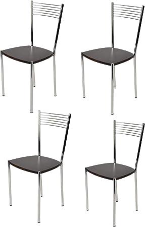 tmcs Tommychairs Set 4 sedie Elegance per Cucina Bar e Sala da Pranzo, Robusta Struttura in Acciaio Cromato e Seduta in Legno Color wengè