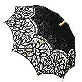 Fennco Styles Handmade Victorian Battenburg Lace Cotton Wood Wedding Photo Parasol Umbrella - 3 Colors (Black)