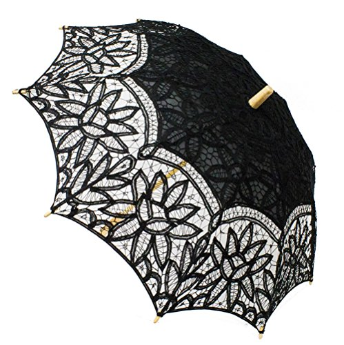 Fennco Styles Handmade Victorian Battenburg Lace Cotton Wood Wedding Photo Parasol Umbrella - 3 Colors (Black) -