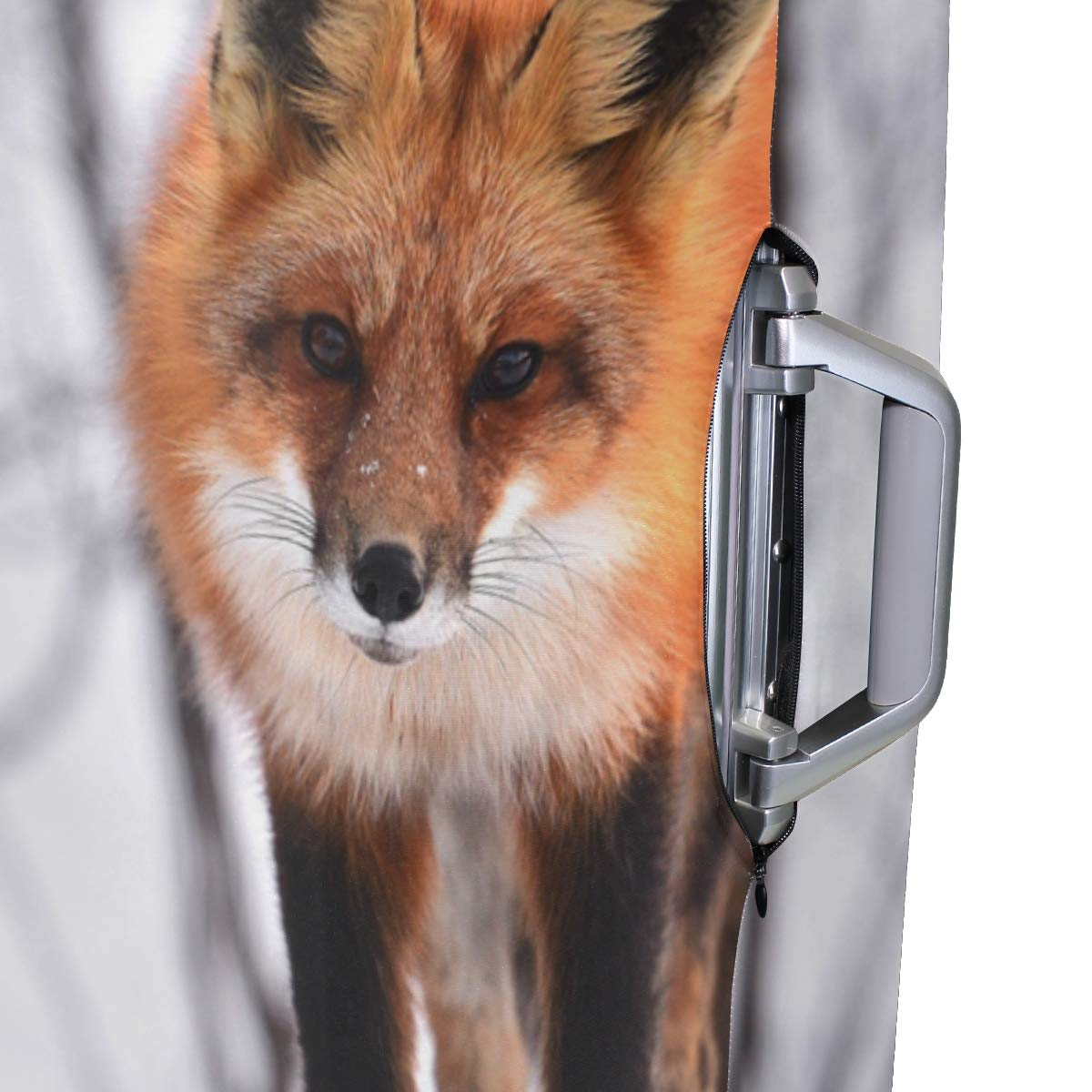 Baggage Covers Lonely Fox Winter Snow Cold Washable Protective Case