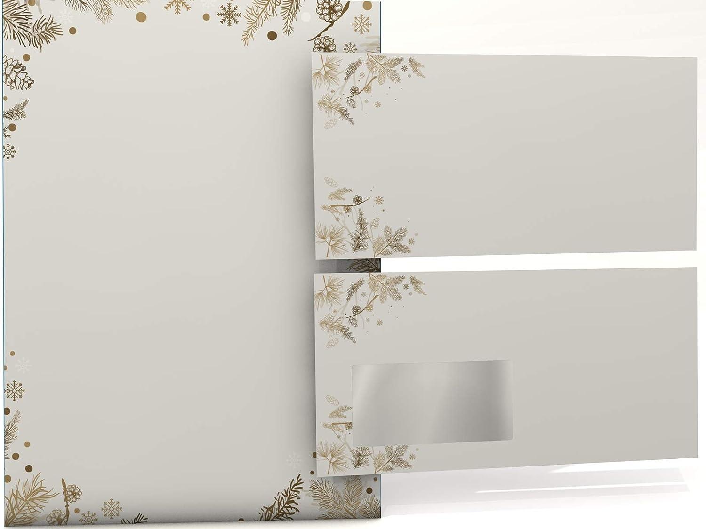 Paper-Media - Papel para cartas (20 hojas y 20 sobres), diseño de piñas de Navidad: Amazon.es: Oficina y papelería