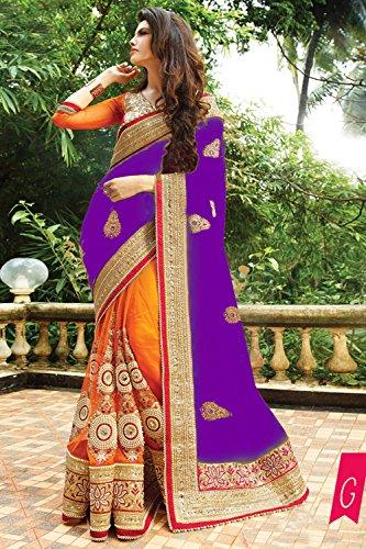 Indian Trends Indian Women Designer Party wear Purple Saree Sari NF-6060G