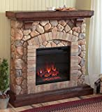 Plow & Hearth Stacked Stone Free Standing Electric Fireplace Heater Realistic Flames 5 Flame Patterns Speeds Brightness Settings Faux Stone Wood Mantel Remote Control Auto Off Timer 40 W x 12 D x 40 H