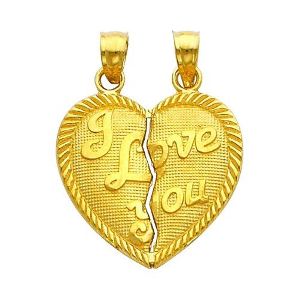 10k Yellow Gold I Love You Breakable Broken Heart Pendant Charm