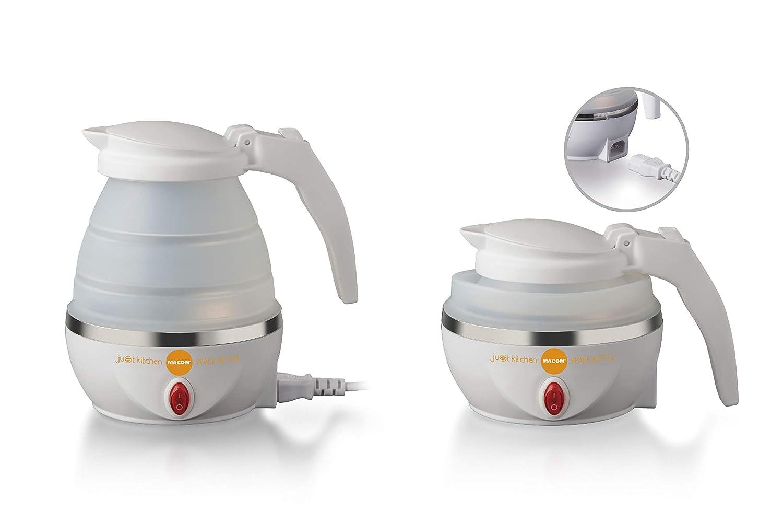 220-240 V Bianco MACOM Just Kitchen 862 Space Kettle Bollitore Elettrico Pieghevole Salvaspazio da Viaggio