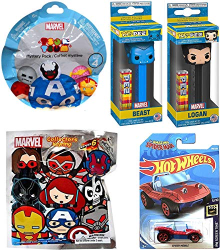Funko Power X-Men Figure Logan & Beast PEZ Character Team Bundled with Collection Marvel Super Heroes 3D Mini Figure Keychain Blind Bag + Tsum Series & Spider-Man Die-Cast Buggy 4 Items