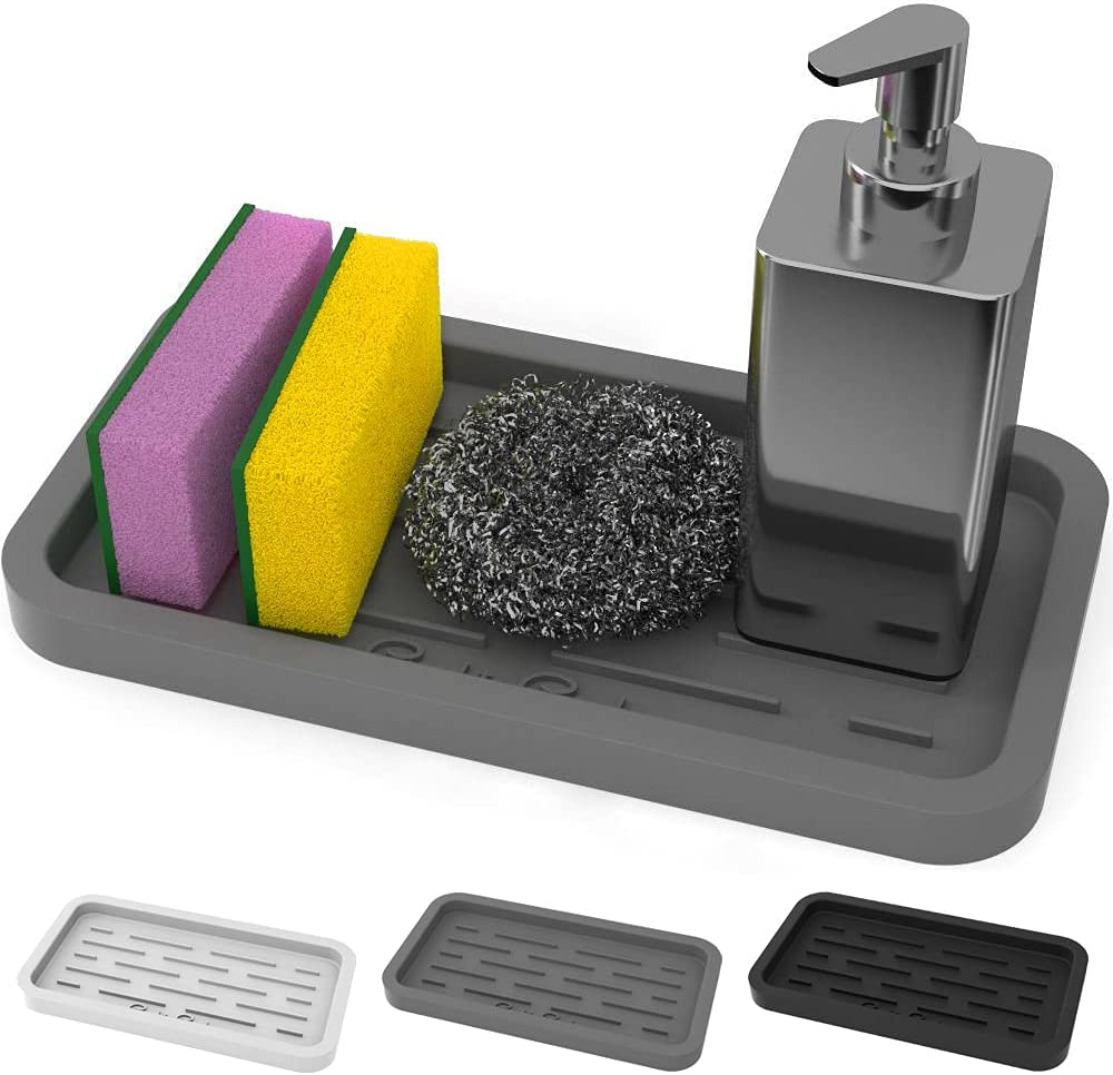 Amazon Com Good To Good Sponges Holder Kitchen Sink Organizer Silicone Tray For Sponge Soap Dispenser Scrubber And Other Dishwashing Accessories Kitchen Dining