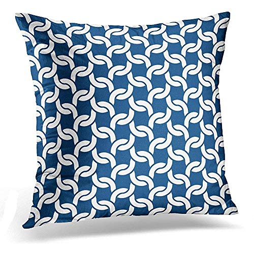 Throw Pillow Cover Blue Knitted Cable Knit Crochet Link Pattern in Navy White Nautical Decorative Pillow Case Home Decor Square 18 x 18 Inch Pillowcase -