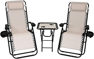 Sunnydaze Outdoor Zero Gravity Reclining Lounge Chairs Set of 2, with Pillows, Cup Holders and Matching Table with Built-in Cup Holders, Beige