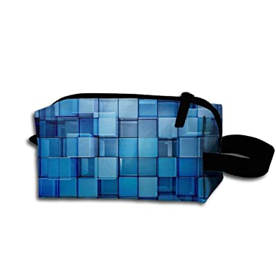 Travel Bag Abstract Cubes Toiletry Bag Clash Durable Zipper Wallet Makeup Handbag With Wrist Band