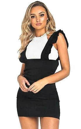 eacb296170 Kaaya Women Ladies Frill Detail Checked Pinafore Print Monochrome Skirt  Dungaree Dress UK 6-14