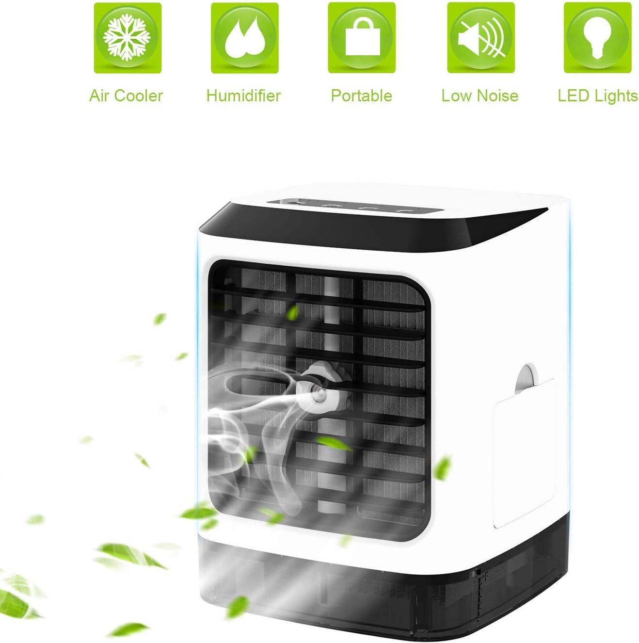 Aire Acondicionado Portátil Air Cooler Humidificador ,4 en 1 Aire Acondicionado Portátil con Mango Oficina Ventilador de Escritorio Mini Ventilador para el hogar, interior, cocina, al aire libre
