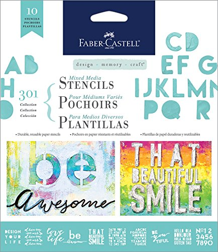 (Faber-Castell Mixed Media Paper Stencils - 301 Collection - 10 Reusable Lettering Stencils)