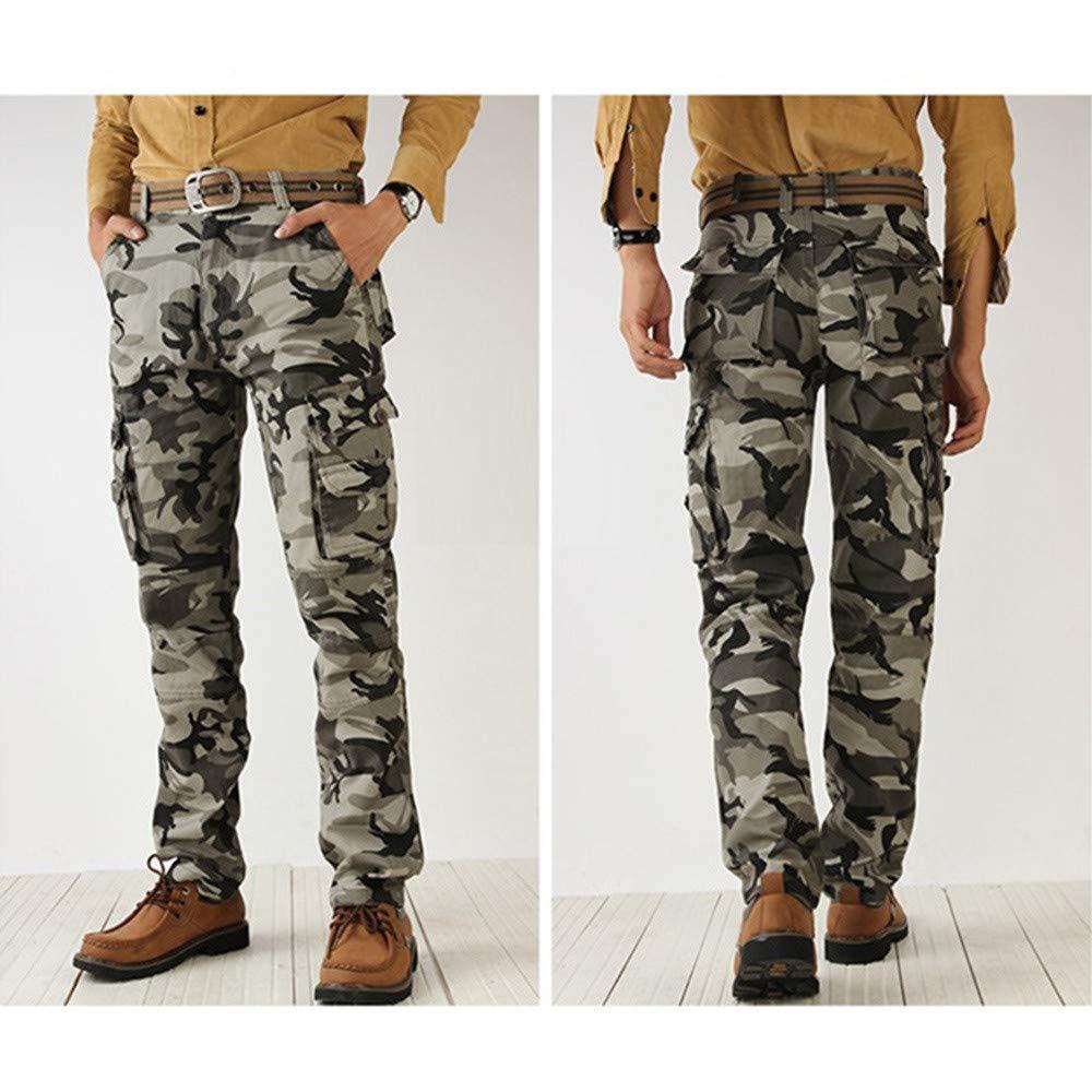 Hombre Pantalón Deportivo Militar del al Aire Libre Pantalones Suelto Casuales Camuflaje Jogger Hip Hop Estilo Urbano Chándal de Hombres con Cinturón ...