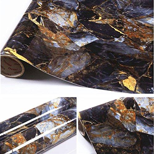 Brown Marble Self Adhesive Gloss Vinyl Wrap Film Kitchen Countertop ...