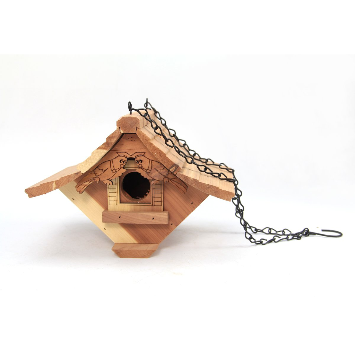 Worth Garden Cedar Wooden Bird House with Hand Cerving Bird Décor Gate