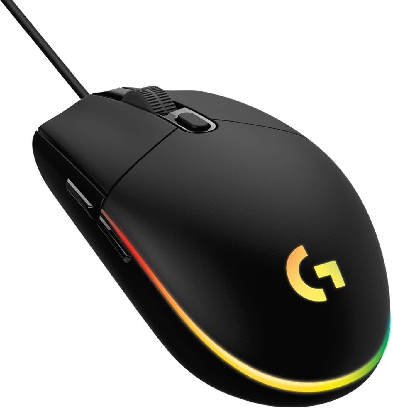 Logitech G203 LIGHTSYNC Ratón con iluminación RGB personalizable para gaming, 6 botones programables, sensor para gaming, seguimiento de hasta 8.000 dpi, peso ligero,G203 2ª Gen.,Negro
