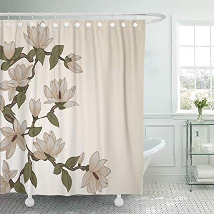 Amazoncom Emvency Shower Curtain Pink Classic With Magnolia