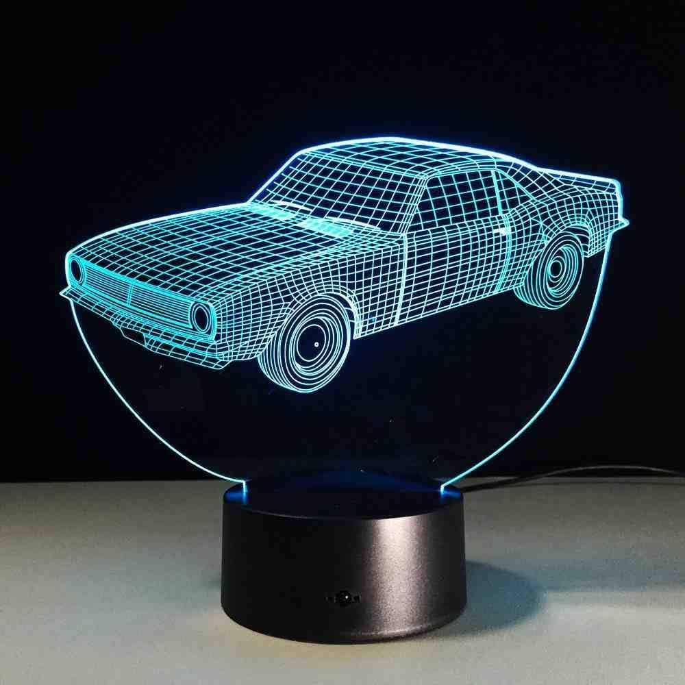 RJGOPL 7 colores cambiantes taxi coche lámpara 3d luz de acrílico de noche con interruptor de toque luz de noche 3d para niños regalo de navidad