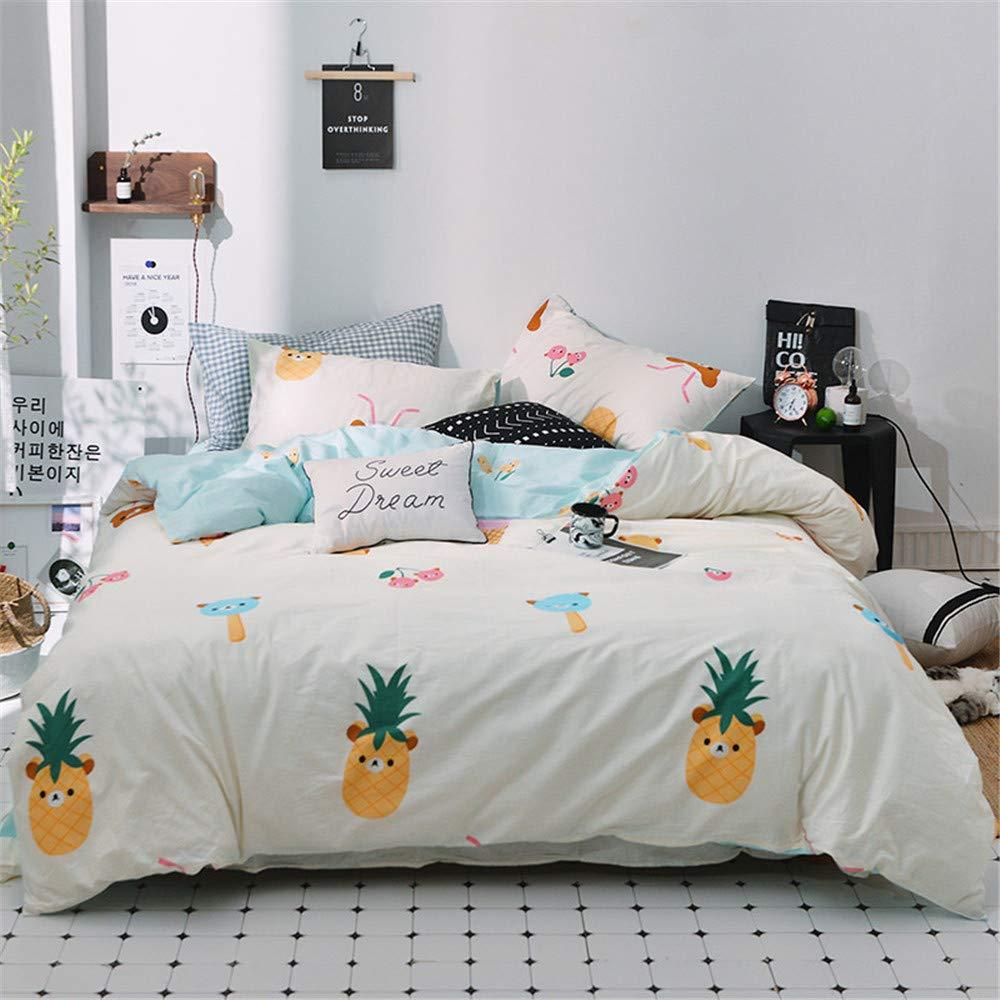 Auvoau シンプル寝具布団カバーセット 男の子と女の子の寝具 パイナップル 羽毛布団カバーセット 4ピース ツイン LingYun-13 B07KHMT775 1 ツイン